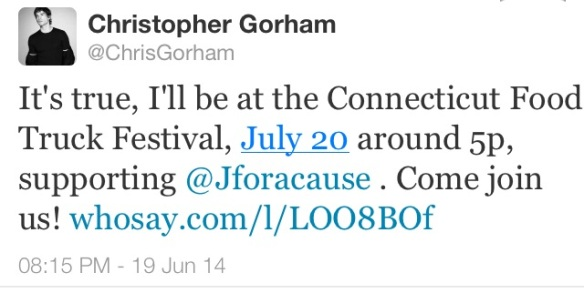 Meet Celebrity Chris Gorham at the CT Food Truck Festival on July 20th!!