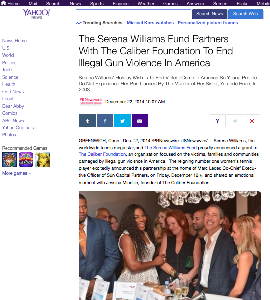 Serena Williams Partners with the Caliber Foundation